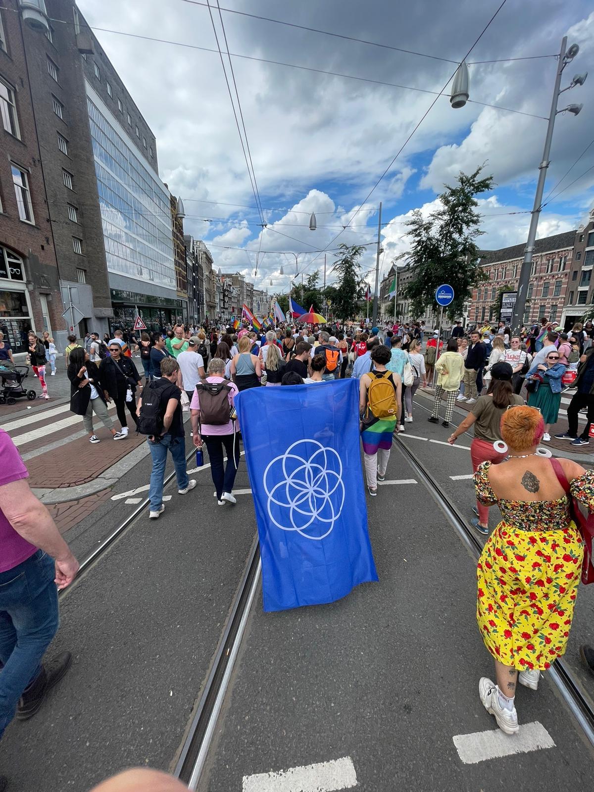 Blue flag with white symbol